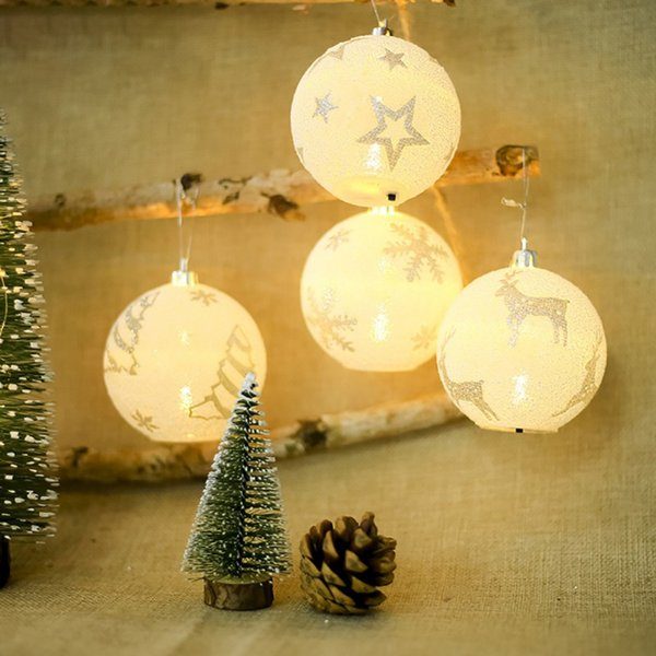 Christmas LED Light Balls Snowflake Elk Star Printing Ornaments Christmas Tree Decoration Chrismas Party Bedroom Outdoor Decor