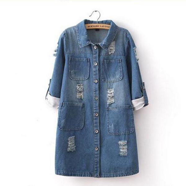 Lässige Auf Viertel Denim Roll Großhandel Drei Von Jeans Mode Dhgate Jeans Lange Jacke Mantel Duanhu39 De Zerrissene Damen 76 Up Frauen Com bf7g6y
