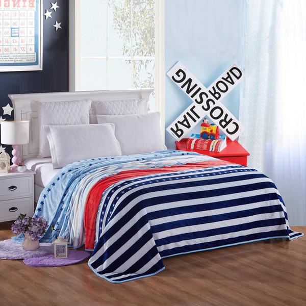 Blue Stripe Pattern Practical High Quality Flannel Plain Bedspread Blanket Throws Fleece Blanket Manta Coberto For Sofa Bed Car
