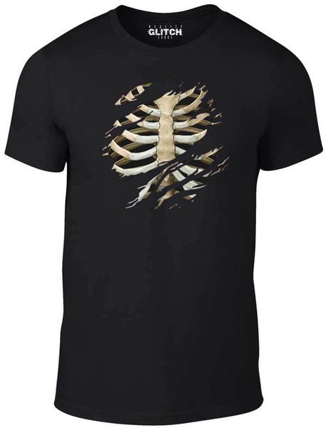 Mens Torn Rib Cage T-shirt Halloween Skeleton Shirt Horror Bones Fancy Dress Fashion Summer Paried Tshirts