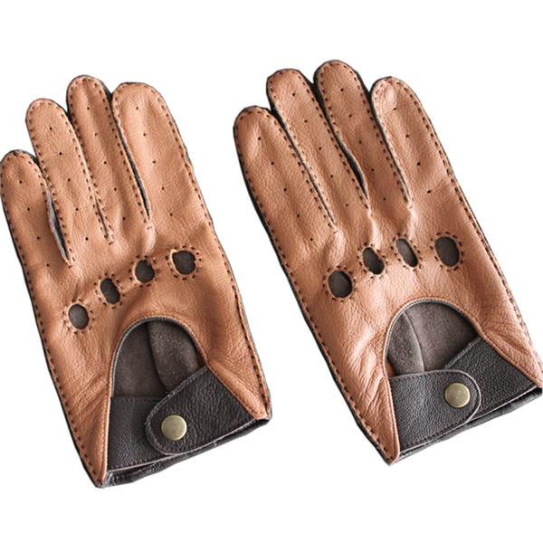 Fashion Autumn and Winter Lambskin Men Leisure Genuine Leather Gloves Wrist Breathable Sheepskin Driving Glove Free Shipping D18110705