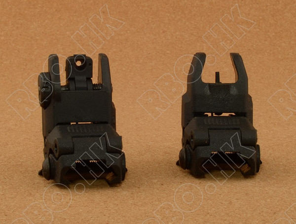 Rifle Back Up Front Rear Folding Sight for picatinny weaver rail mount base BK M4318