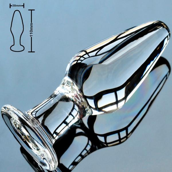 38mm pirex vidro butt plug anal vibrador talão bola de cristal falso pênis masculino pau masturbação feminina adult sex toy para mulheres homens gay S924