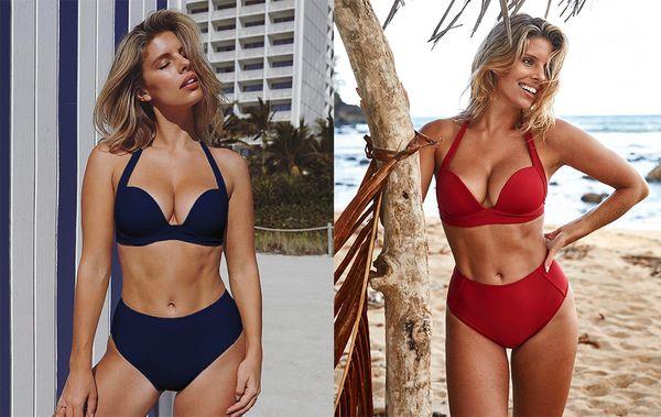 Solid High Waist Bikini Set Sexy Swimwear Women Push Up Two Pieces Bikini Halter Top Bathing Suit Beachwear Biquini Brazilian Bikini