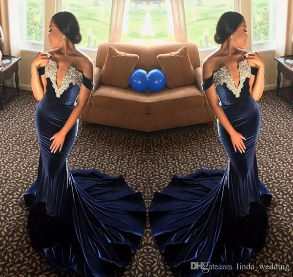 2017 Velvet African Evening Dress Mermaid V Neck Appliques Formal Holiday Wear Prom Party Gown Custom Made Plus Size