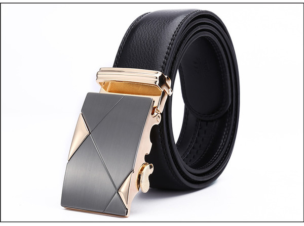 MENS GENUINE LEATHER WAIST BELT AUTOMATIC BUCKLE QUALITY BUSINESS FORMAL DESIGN