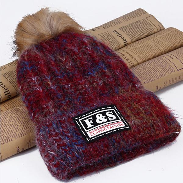Autumn and winter ladies ski woollen knitted pullover Korean fashion hat cotton hat