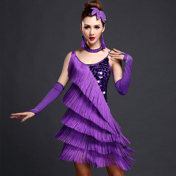 Ballroom Wettbewerb Kleider Tango erwachsenen roten Latin Dance Kostüme Frauen Salsa Tanzbekleidung Tanz Kostüm Kleider Fransen Gold Pailletten