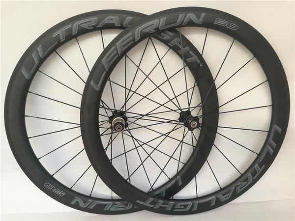 Ultra Ligero 50 Clincher Tubular Road Bike Ruedas de carbono Rodamiento de cerámica R36 Hub 700C Llanta 38mm 60mm 88mm Bicicleta BORA