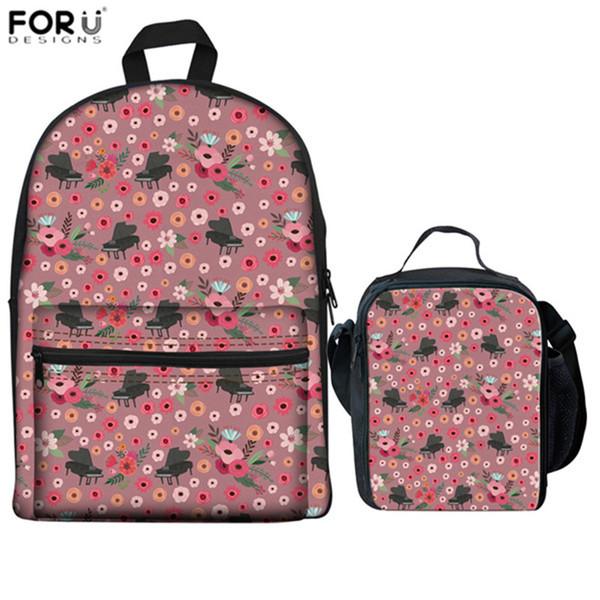 FORUDESIGNS Flower Piano Linen Backpacks Teenage Girls School Book Backpack Electric Guitar Print Laptop Rucksacks for Students