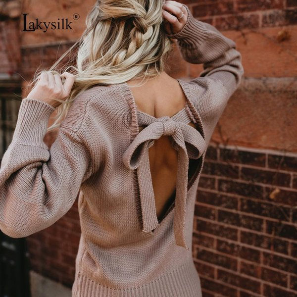 [Lakysilk] V-neck Loose Long Sleeve Pullover Backless Solid Color Sexy Women Sweaters Knitted Autumn Female Clothing 2018 Winter