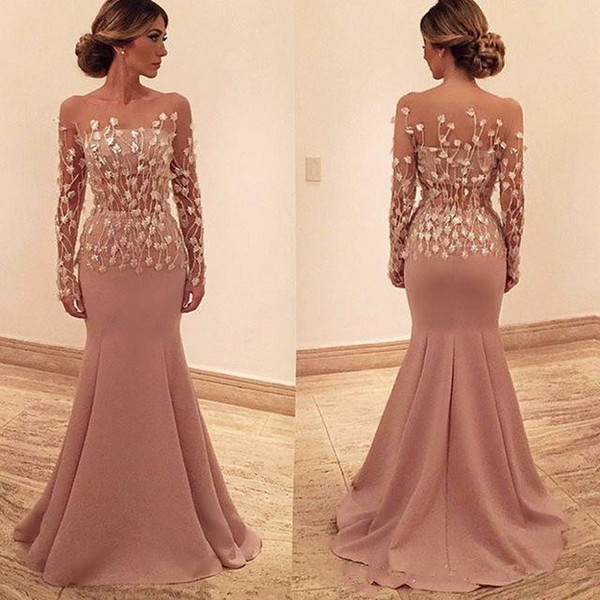 Illusiong Long Sleeve Formal Evening Dresses See Through Mermaid Floor Length Satin Africa Prom Party Gown Mother Of Bride Wear Plus Size