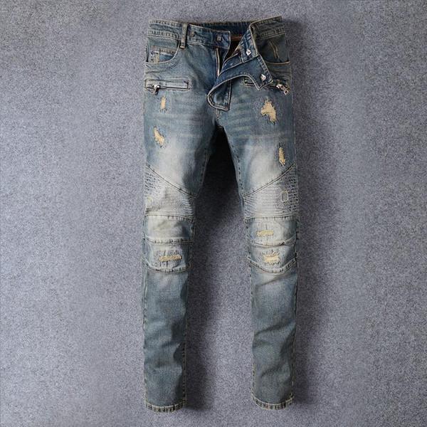 Hombres Jeans Clásicos de época Hombres Nostálgico Recto Personalidad Fold Gran Tamaño Moda Jeans Locomotora Tamaño 28-38