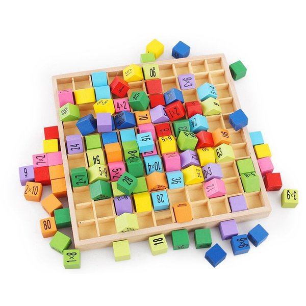 Multiplication Table Math Toys 10x10 Double Side Pattern Printed Board Colorful Wooden Figure Block Kids Novelty Items Brain Creative Green