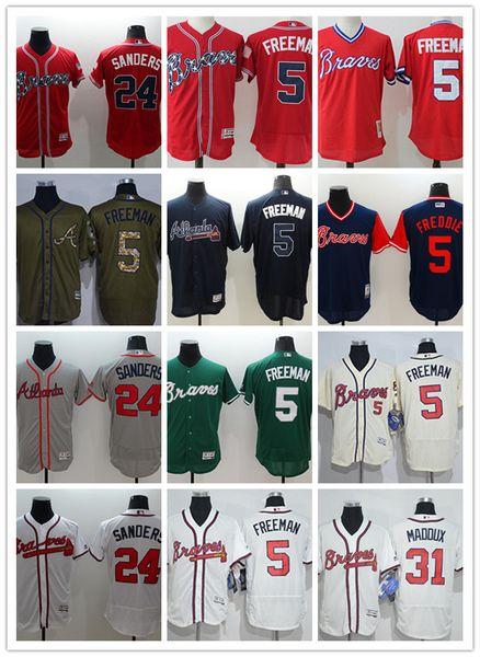 Men women youth Majestic custom Braves Jersey #5 Freddie Freeman 24 Deion Sanders 31 Greg # Maddux Home Blue Red Baseball Jerseys