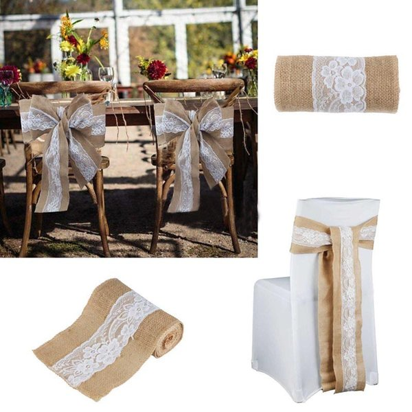 Fine Wedding Burlap Chair Sashes Lace Hessian Jute Burlap Chair Sash Bow For Wedding Party Baby Shower Home Decor 30Cm 275Cm Chair Cover Hire Personalised Evergreenethics Interior Chair Design Evergreenethicsorg