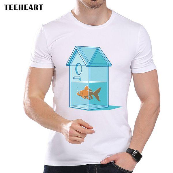 Goldfish In A Glass Birdhouse Shaped Aquarium Funny Joke Men T Shirt Tee Cool xxxtentacion tshirt Brand shirts jeans Print