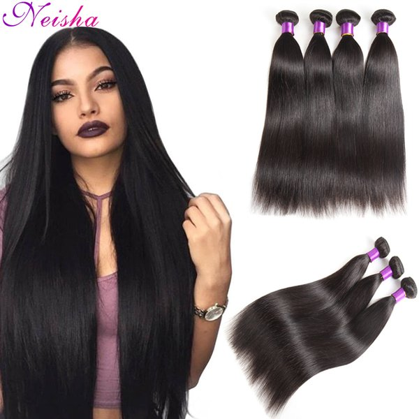 8A Great Brazilian Human Hair Weave Straight Hair 4 Bundles Lot Cheap Malaysian Indian Peruvian Virgin Hair Straight Wefts Natural Color