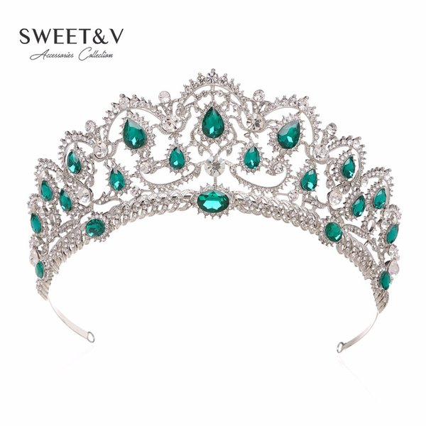 Luxury Crystal Crown Wedding Tiara Princess Party Hats Bridal Head Jewelry - Pageant Prom Women Hair Accessories w/ Gems