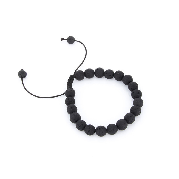 8 MM Schwarz Lava Rock Perlen Yoga Unisex Armbänder Natürliche Mala Stretch Einstellbare Armband Modeschmuck Hohe Qualität