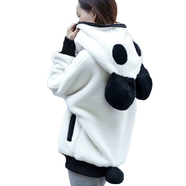 KLV Women Coat Outwear Cute Bear Ear Panda Winter Warm Hoodie Coat Women Hooded Jacket Outerwear For Autumn Winter