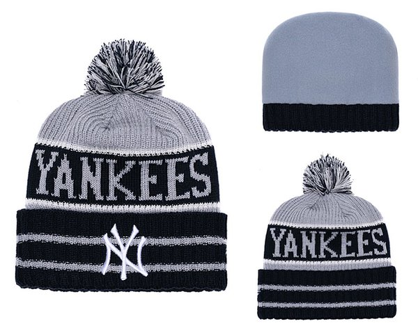 High Quality Men's New York Cuffed Pom Beanie Hats Knitted NY Beanie Wool Warm Baseball Cap Hat Women Knit Bonnet Beanies Knit Hat