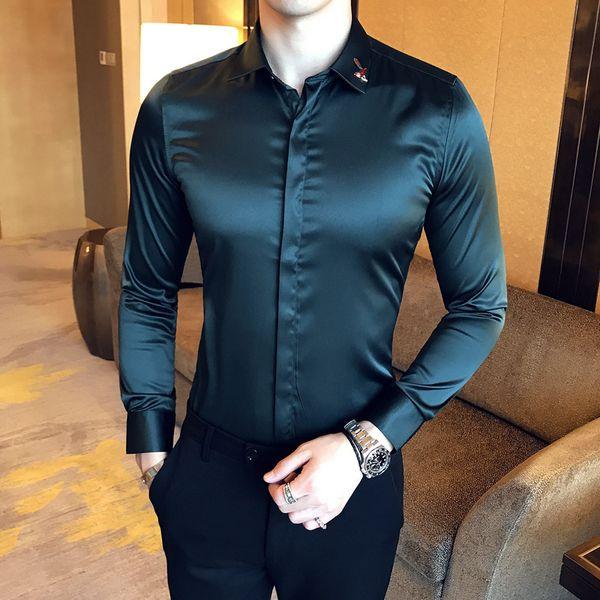 Camicia da smoking di lusso da uomo verde bianco nero Shinny Satin Shirt 95% Rayon 5% Spandex Banquet Party Wedding Chemise Homme
