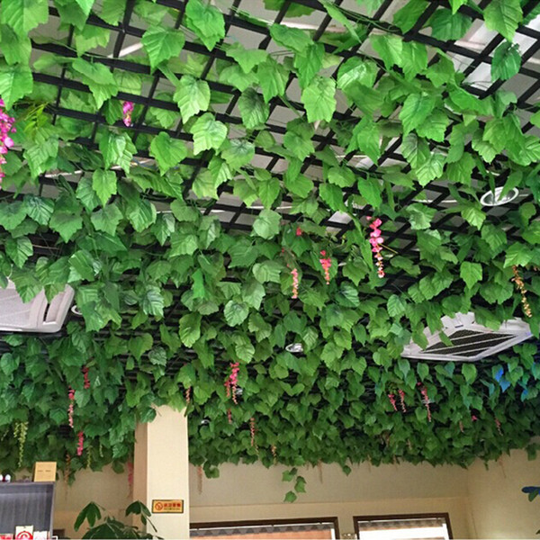 Artificial Silk Grape Leaf Garland Faux Vine Ivy Indoor/Outdoor Home Decor Wedding Simulation Flower Green Leaves Christmas Foliage Leaves