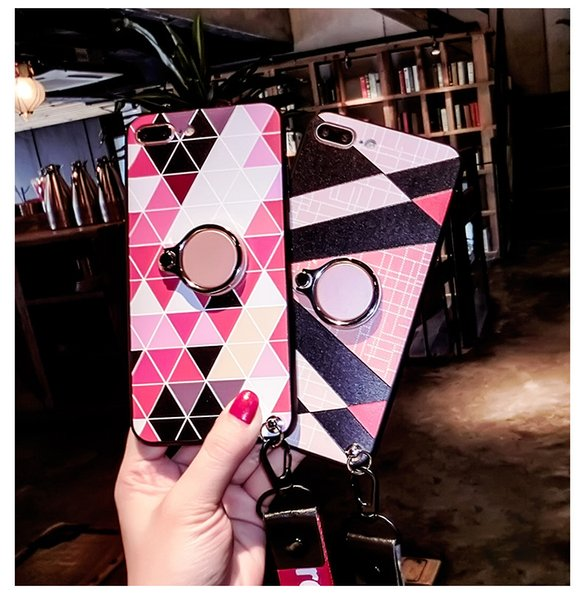 Hot selling Phone case with rings for iPhone6/6s/7/7plus/8/8plus and iphone x mobile glitter case quicksand stand shell sets stent ring