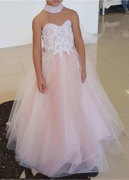 Flower Girl Dress Full Length Lace Applique For Wedding Formal Occasion Kids Brithdays Dress Child Party Dress Formal Wear M70
