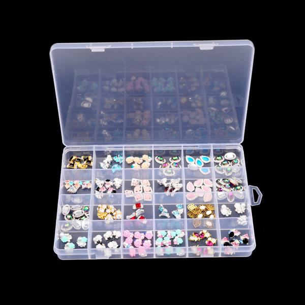 24 Slots Plastic Storage Box Nail Art Rhinestone Jewelry Storage Beads Display Empty Clear Container Case Organizer Holder