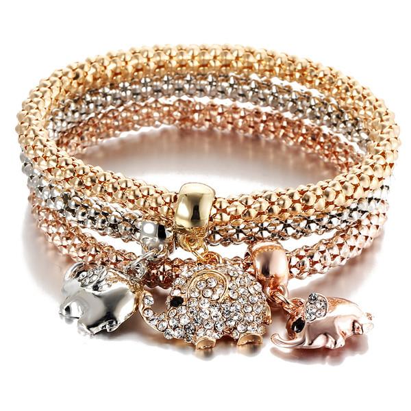 Nuevo Estilo 3 Unids Oro Color Crystal Owl Charm Pulseras Para Las Mujeres Elefante Corn Crown Pulsera de Múltiples Capas Brazaletes Regalo