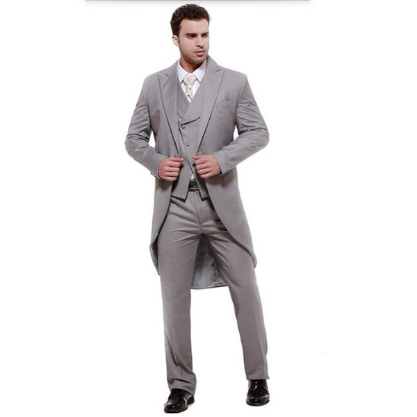 Mens suits Gray swallow-tailed coat high quality men suit elegant fashion groom suits groomsman prom (jacket+vest+pants)