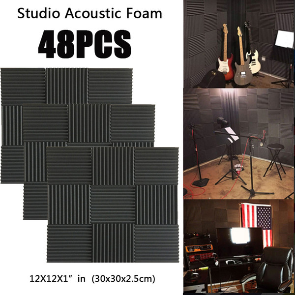"""top popular 48PCS Music&Sound Wedge Acoustic Foam Studio sound absorption Tile Sound Insulation Silencing Soundproofing Panels Fireproof 12X12X1""""in 2021"""