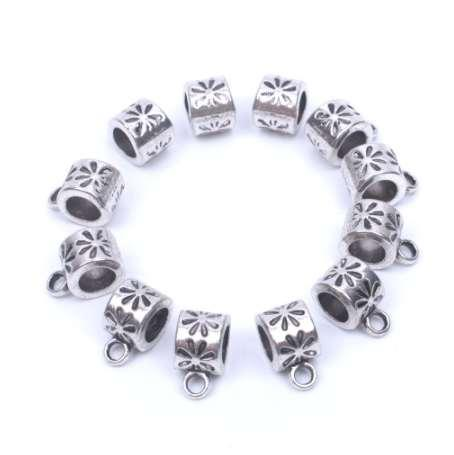 12pcs/lot Europe Big hole beads Tibetan silver bail beads metal spacer beads for jewelry making supplies metal finding wholesale