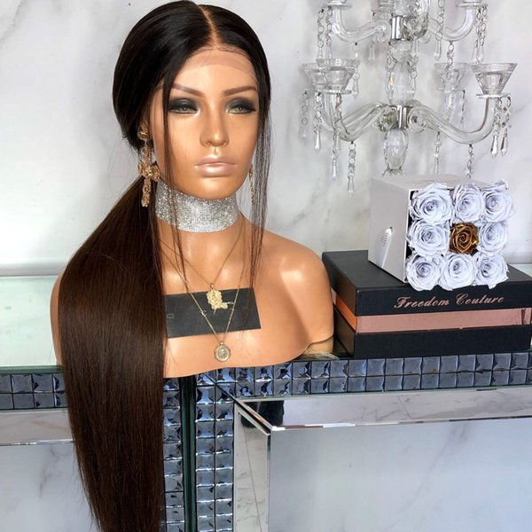 Human Hair Full Lace Wig Two Tone Color 1B/2# Dark Brown Silky Straight Human Hair Lace Front Wigs For Black Woman With Baby Hair