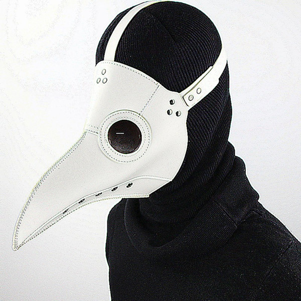 Adjustable White Plague Doctor Mask Birds Long Nose Beak Faux Leather Steampunk Halloween Costume Props Free Shipping G219S