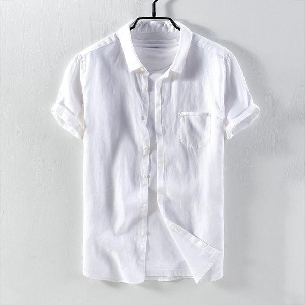 2e0aec456c 2018 pura camisa casual de manga corta de los hombres de lino sólido sólido  con camisa