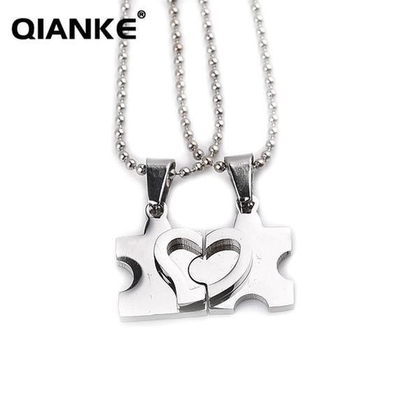 Heart-shaped Couple Pendant Necklace Set Zinc Alloy Llink Chain Necklace for Girl Boy Friend Fashion Jewelry