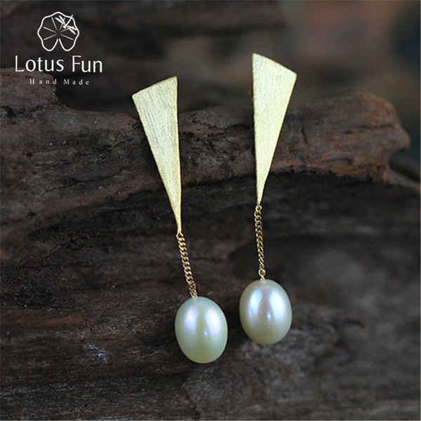 Lotus Fun Real 925 Sterling Silver Natural Pearl Creative Handmade Fine Jewelry Special Triangle Drop Earrings for Women Brincos D1892903