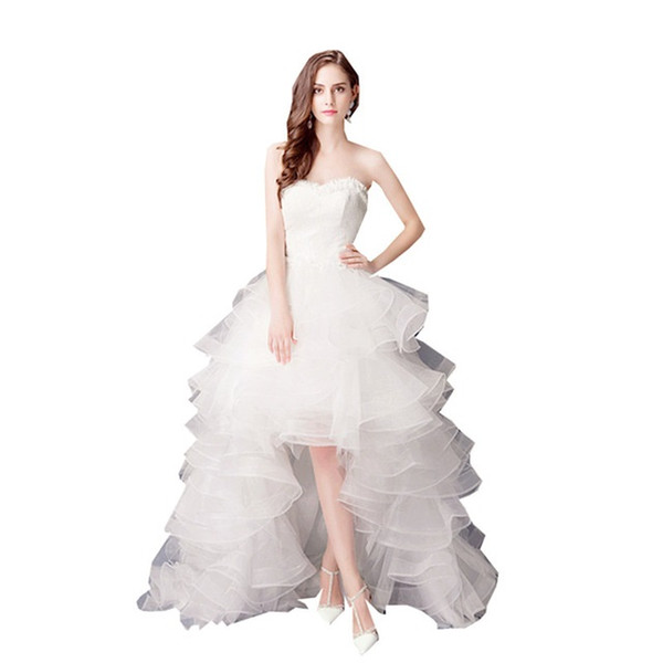 2019 Sweetheart Lace Wedding Dresses Cheap Whith After short before long Ruffled A Line Bridal Gowns