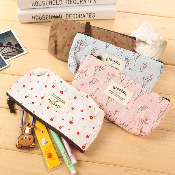 best selling Hot Sale New Flower Floral Pencil Pen Canvas Case Cosmetic Makeup Tool Bag Storage Pouch Purse
