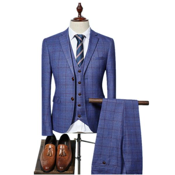 (Jacket+Vest+Pants) 2017 High quality Men Suits Fashion grid stripe Men's Slim Fit business wedding Suit men Wedding suit