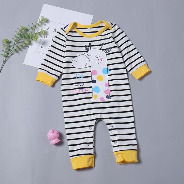 Roupas de bebê outono Inverno manga longa girafa vestuário preto e branco listras romper roupas de bebê menina