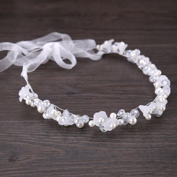 Perle di cristallo d'argento Copricapi da sposa Fasce da sposa per fiori Diademi Fascia per capelli da donna Copricapo Ragazze Copricapo per bambini Vestito Accessori per capelli