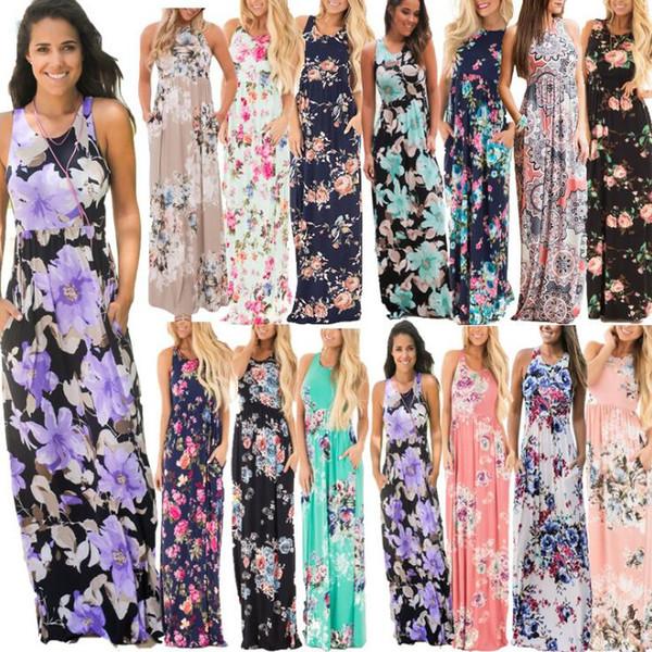 Blumendruck Sleeveless Boho Kleid 15 StylesWomen Sommer-beiläufiger Strand-langes Kleid Blumen gedruckte Maxi Partei-Kleider Mutterschaftskleider OOA5256