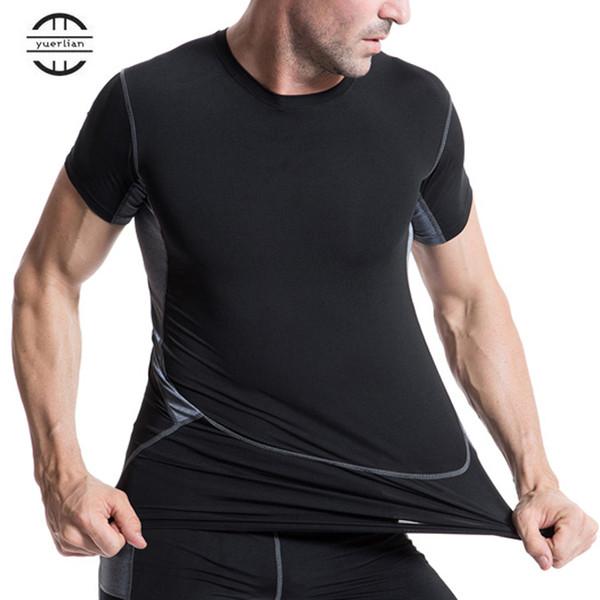 Yuerlian Black Quickly Dry Men's Short T-Shirt XXL Elastic Sportswear Fitness Tight Running Shirt Gym Sports Suit Soccer Jerseys