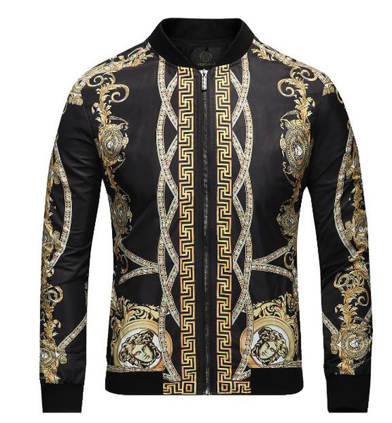 zww_88 / 2018 Autumn & Winter Brand new Luxury windbreaker jacket medusa floral print jackets Men casual long sleeved outerwear hooded jackets coats