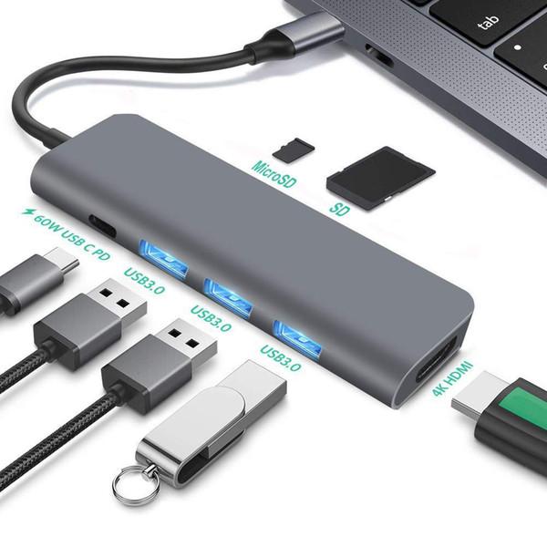 USB C концентратор 7-в-1 Тип C адаптер с 4K HDMI, 60 Вт питания, 3 USB 3.0, SD / Micro Card Reader