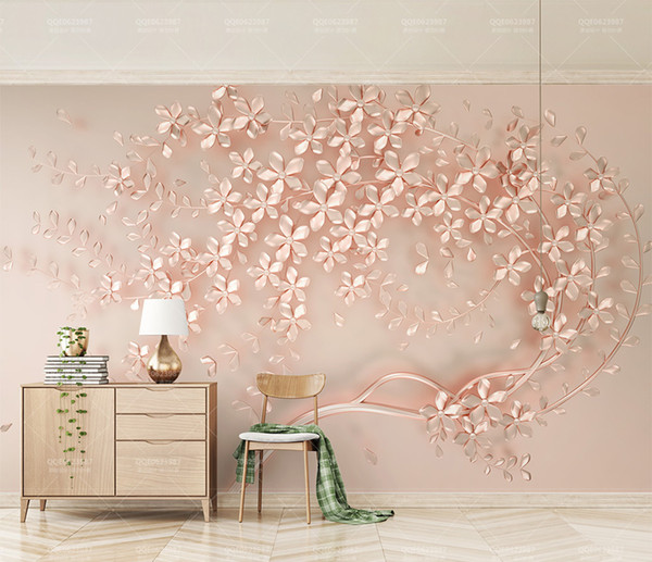Custom Retail New Rose Gold Flowers Luxury Elegant 3d Stereo Tv Background Wall Spring Flower Sketch Mural The Hd Wallpaper The Hd Wallpapers From